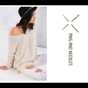 Anthro | Pins and Needles Sweater Beige w/lace XS